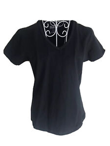 One Body Womens T-shirt Top Size 12 Black V Neck Short Sleeved Sport Active Wear