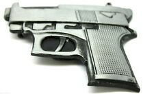 Mens Pistol Gun Belt Buckle Antique Silver