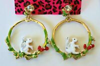 Betsey Johnson Crystal Rhinestone Enamel Squirrel Post Earrings
