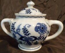 Vintage Blue Danube Porcelain Large Sugar Bowl With Lid Banner Stamp