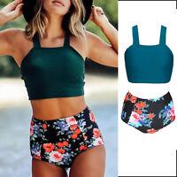 Womens Crop Top Bikini Set High Waist Swimwear Swimsuit Floral Swimming Costume