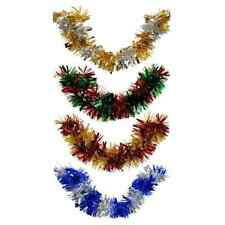 Christmas House Bi-Color Tinsel Garland 9 Foot Strand Green Gold Siver Red w