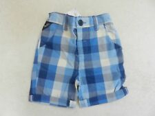 BNWT Next Boys Blue Check Shorts Adjustable Waist Age 1.5-2 Years 18-24 months