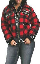 NWT ROCAWEAR tartan Plaid WOOL PATENT TRIM winter COAT JACKET 2X 18 20 plus size