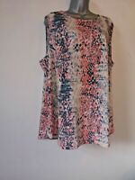 NWT Avon 22 silky pink teal geometric sleeveless cool Summer vest blouse top