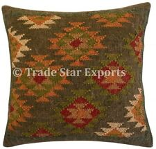 Indian Kelim Jute Pillow Case 18x18 Hand Woven Vintage Kilim Rug Cushion Cover