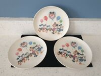 3 Vintage Mickey Mouse Walt Disney Productions Plastic Childs Dish Plate Dinner