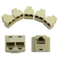 5 X RJ45 CAT5 6 Ethernet Cable LAN 3 Sockets Internet Splitter Connector Adapter