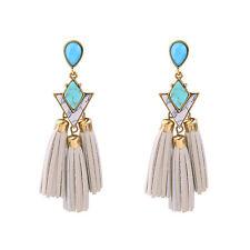 Women's  Gem Leather Dot Tribal Tassel Chandelier Earrings