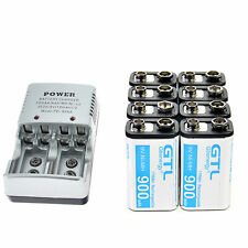 8X Durable 9V 9 Volt 900mAh Power Ni-Mh Rechargeable Battery + 2-bit Charger CA
