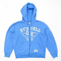Russell Athletic Mens Size S Cotton Blend Graphic Blue Zip Up Hoodie