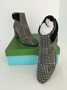"""NEW IN BOX KATE SPADE """"HOLLY"""" PRINCE OF WALES PONYSKIN FUR BOOTS WITH BOW 10"""