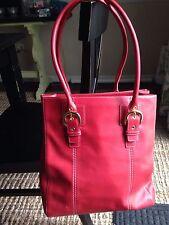 LEVENGER Soft RED Leather XL Tote Handbag Shoulder Bag Spotless Interior NWOT