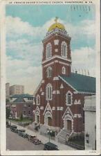 *Parkersburg Wv Post Card 1930 St Francis Xavier'S Catholic Church *Antique Cars