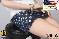"""1/6 skirt short dress denim pattern for Phicen Hot Toys 12"""" female figure ❶USA❶"""