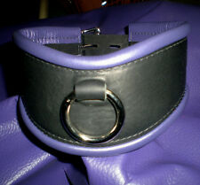 Genuine Leather Posture Collar, O Ring, Black w/ Purple Trim Lock Hand crafted