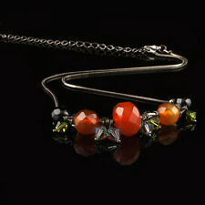 Austrian Murano solid stones crystals stainless steel pendant necklace