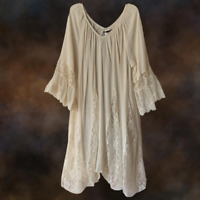 Plus Size Vintage Peasant BOHO GYPSY  Beige Laced Ruffle DRESS TUNIC XL 1XL 2XL