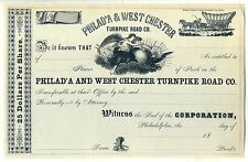 Philadelphia & West Chester Turnpike CO. Stock Certificate Philad'a