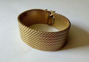 Breites Vintage Armband Teppicharmband gepunzt 18K 750 ca105g schwer goldfarben