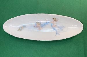 Vtg VICTORIAN Limoges CFH GDM France CHERUBS BLUEBIRDS Celery Breadstick Plate