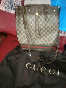 Vintage BIG GUCCI Ophidia  Bucket Bag GG Monogram Shoulder Drawstring & DUST BAG