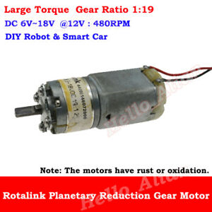 DC 6V-18V 12V 480RPM Micro Full Metal Gear Motor Planetary Gearbox Robot Car Toy
