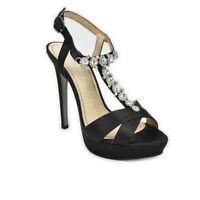 Sandali CafèNoir eleganti tacco alto raso nero plateau gioiello strass - QLC909