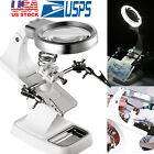 Led Light Magnifier Desk Lamp Helping Hand Soldering Stand 3x Magnifying Glass