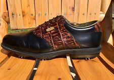 FootJoy DryJoys Golf Shoes 53729 Black Leather & Brown Crocodile Trim Men 13 M