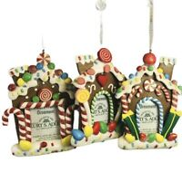 Kurt Adler Candy House Picture Frame Ornaments Gingerbread Clay Dough Set of 3