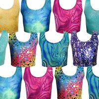Kids Tops Girls Crop Top Tankini Vest Mermaid Swim Dance Top All Sizes Age Size