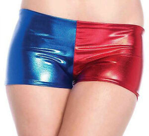 WOMENS HARLEY QUINN METALLIC SHORTS LADIES RED BLUE HOT PANTS SUICIDE SQUAD NEW