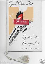 UNITED FRUIT COMPANY PASSENGER LIST T.E.S.TALAMANCA 1934 BALBOA-SAN FRANCISCO