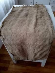 Antique Vtg GRAIN SACK feedsack Rustic hemp pale black writing GRAINSACK