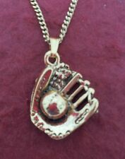 Softball Mitt Necklace Gold Plated Charm Pendant and Chain
