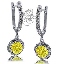 2.89CT Fancy 925 Silver Halo Drop Canary Leverback Earring 14K White Gold Plated