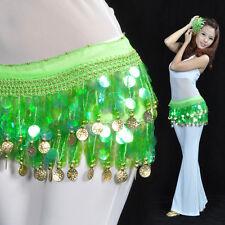 NEW Belly Dance Hip Scarf Belt Sequins & 88pcs Golden Coins 12 Colors
