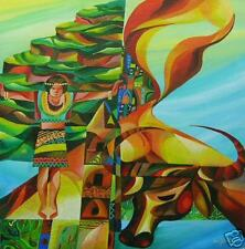 Ifugao Banzil Art 24x24 Philippines Oil Painting New