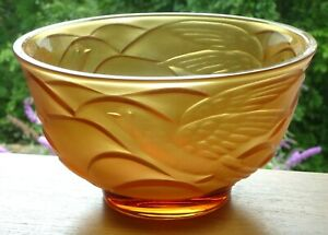 """Art Deco Amber Glass Bowl Moulded & Frosted Flying Birds.French?Jobling?8 7/8""""d."""