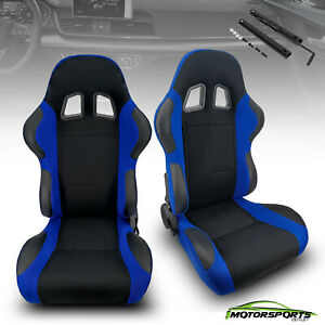 Reclinable Black&Blue Patches Fabric Pineapple Racing Seats Left/Right W/Slider
