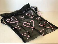 NEW! VICTORIA'S SECRET VS BLACK PINK HEARTS REUSABLE DRAWSTRING ORGANZA GIFT BAG