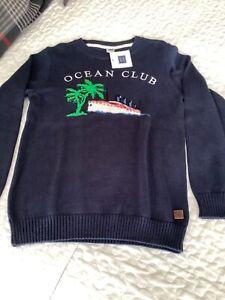 Janie and Jack boys sweater NWT navy with intarsia palm,ship size 7