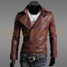 Men's PU  Leather Jacket fashion Slim fit Biker Motorcycle jacket Outwear