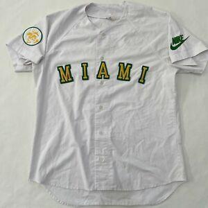 VTG 90's Nike Gray Tag University of Miami Hurricanes Baseball Jersey Size Large