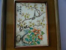 Superb old Chinese handpainted porcelain Qianjiang ? plaque signed 2 birds wood