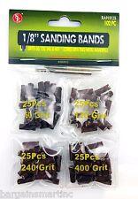 "102pc 1/8""x1/2"" Sanding Bands Drums Sleeves Set 60 120 240 400 Grit For Dremel"