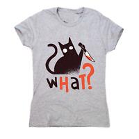 Murder cat funny scary t-shirt women's