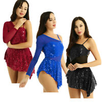 Women's Sequins Lyrical Contemporary Ballet Dance Dress Leotard Ballroom Costume