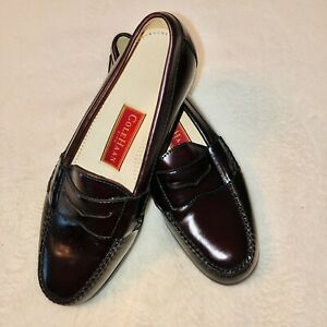 Cole Haan City Mens Leather Cordovan Burgundy Penny Loafers Slip On Shoes 9.5 D